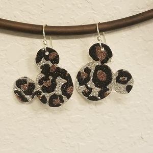 FUN Glitter Leopard Mickey head earrings!!